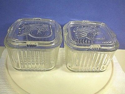 Vintage Pair Federal Refrigerator Freezer Storage Dish Clear Glass Vegetable Lid