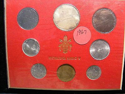 Vatican 1967 Mint Set - With Silver 500 Lira - 8 Coins