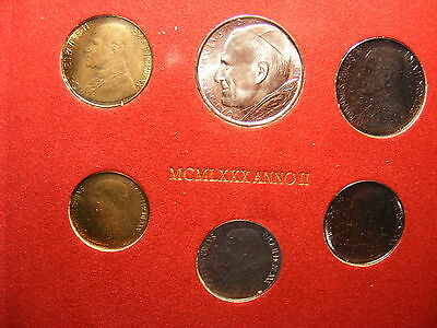Vatican 1980 Mint Set - With Silver 500 Lira - 6 Coins