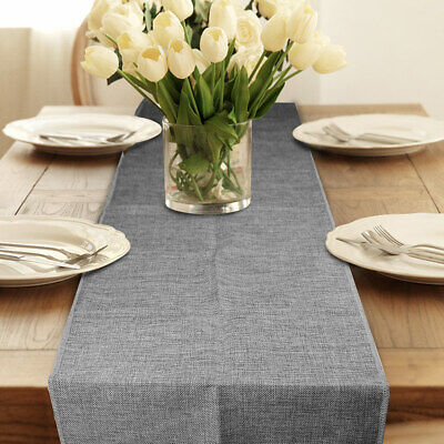 Gray Vantage Imitated Linen Hessian Table Runner for Wedding Event Table Decor