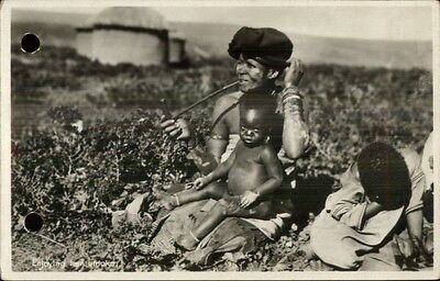 South African Black Woman & Baby - Smoking Long Pipe RPPC rpx