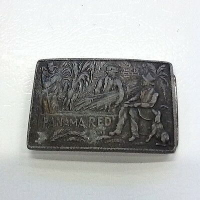 Panama Red Tobacco Smoke Vintage 1970s Solid Brass Belt Buckle Rare
