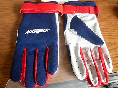 NEW NOS Nelson-Rigg Aquatech Blue Red Wetsuit Wet Suit Aqua Water Gloves Medium