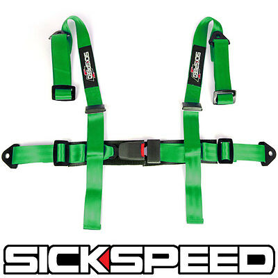 "1Pc Green 4 Point 2"" Nylon Racing Harness Adjustable Safety Seat Belt Buckle Q1"