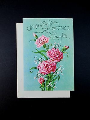 # J365- Vintage Unused Glittered Mother's Day Greeting Card Pink Carnations