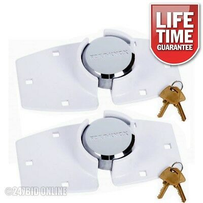 2 x WHITE HIGH SECURITY 73mm SHACKLELESS PADLOCK & HASP SETS VAN TRUCK DOOR LOCK