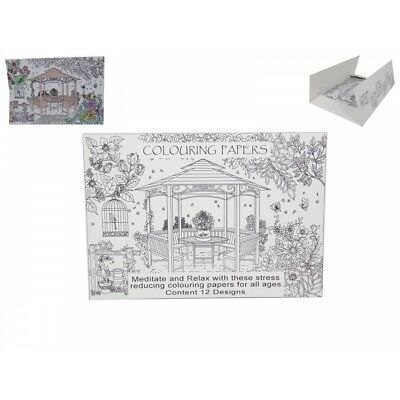 A4 Adult Colouring In Paper Scenery Designs, 12 Sheets, Relax and Stress Reducin