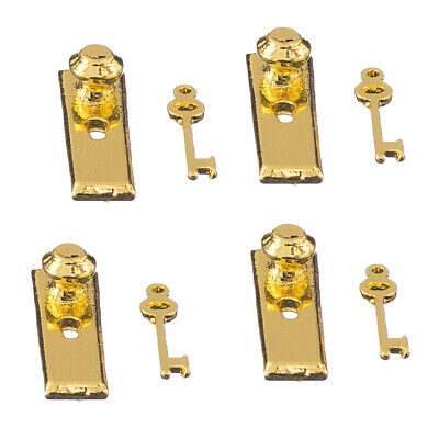 1/12 Scale 4 Dolls House Miniature Brass Handles keys Set Door Knob Fittings