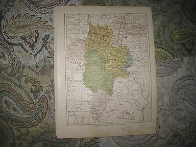 Antique 1898 County Carlow Ireland Map Fennagh Clonmore Clonegal Tullow Nurney N