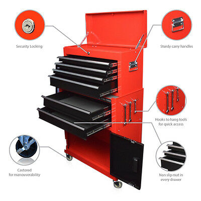323 Us Pro Tools Red + Black Affordable Tool Chest Box Mechanics Roller Cabinet