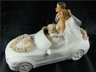 Hand Painted Resin Newly Weds In Wedding Car Cake Topper Decoration