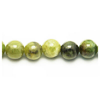 Strand Of 62+ Dull Green Peridot 6mm Plain Round Beads HA02340