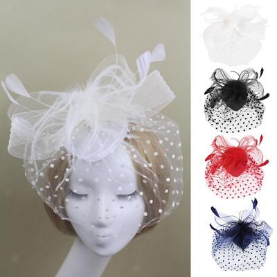 Wedding Bridal Races Party Fascinator Veil Net Hat with Feathers Headpiece