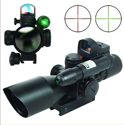 Power 2.5-10X40 Hunting Rifle Scope w/ Green Laser & Reflex 3 MOA Red Dot Sight
