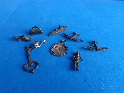 GROUP OF VINTAGE METAL CRACKER JACK OR GUMBALL TOYS CHARMS 1920s & 30s