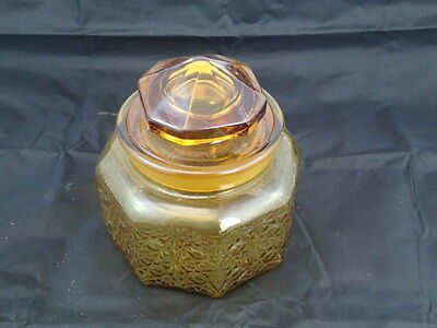 Vintage Indiana Glass Amber Covered Candy Dish with Lid