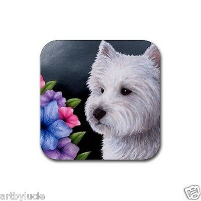 Rubber Coasters set of 4, art painting Dog 82 Westie West Highland White Terrier