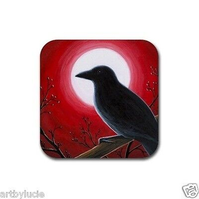 Rubber Coasters set of 4, from art painting Bird 62 Crow Raven Moon L.Dumas