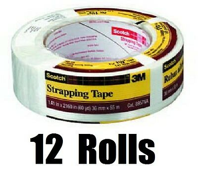 "12 ea 3M Scotch 8957-1.5  1.41"" x 60 Yards Reinforced Strapping Packaging Tape"