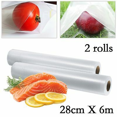 2 Rolls 28Cm X 12M Cheapest Textured Vacuum Sous Vide Food Sealer Storage Bags