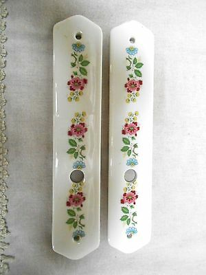 2 Vintage French FLORAL PORCELAIN Finger Door Plates