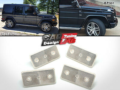 (4) Side Marker Reflectors Clear Lens For 1990-2014 Mercedes Benz G Class W463
