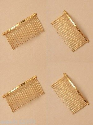 PACK OF 12 GILT WIRE 7.5cm SIDE COMBS, HAIR ACCESSORY : SP-6133 PK12
