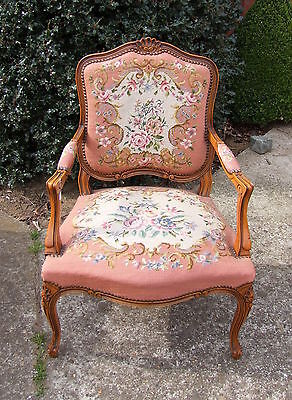 Lovely French Carved Oak Needlepoint Armchair -  (010046)