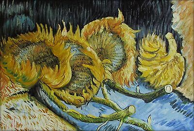 Van Gogh Four Cut Sunflowers Repro. Quality Hand Painted Oil Painting 24x36in