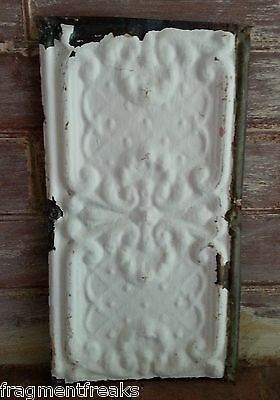 "6.5""x 12"" Antique Tin Ceiling Tile*SEE OUR SALVAGE VIDEOS*Vintage White TR19"