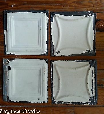 "4 6"" x 6""  Antique Tin Ceiling Tiles *SEE OUR SALVAGE VIDEOS* Ivory GG12"