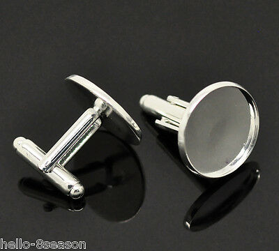 5 Pairs HOT Silver Plated Cabochon Setting Cuff Links 26x20mm(Fit 18mm)