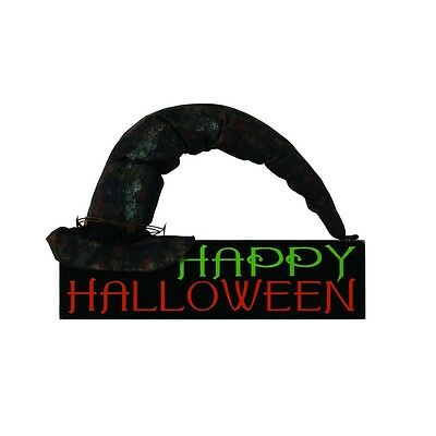 🎃NEW!~Happy Halloween Witch Hat Sign/Plaque~Wood~Tree/Wreath Ornament~Primitive