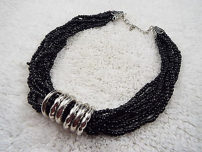 Multi Strand Black Glass Bead Silvertone Rings Necklace (C36)