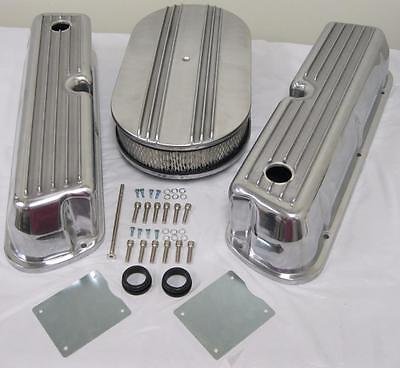 Ford 289 302 351W Finned Retro Aluminum Valve Covers & Air Cleaner Dress Up Kit