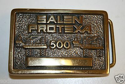 Salen Protexa 500 Drilling Co. Vintage High End Solid Brass Belt Buckle Rare