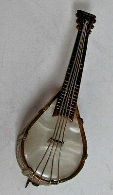 Outstanding Vintage Mother Of Pearl Mandolin Pin Brooch