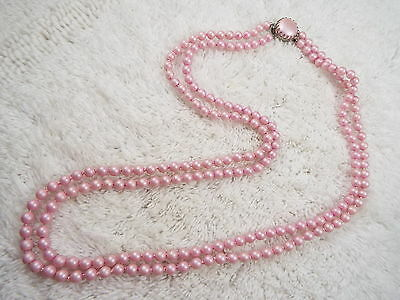 Vintage Two Strand Mini Enamel Pink Metal Bead Necklace (A21)