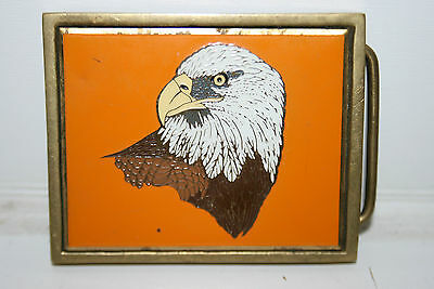 Vintage 1983 Biker Motorcycle Brass Belt Buckle Bald Eagle Orange RARE