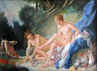 Francois Boucher Diana Bathing Repro, Quality Hand Painted Oil Painting, 36x48in