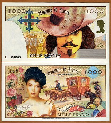 Kingdom of France, 1000 Francs, 2016, Private Issue, UNC   Three Musketeers