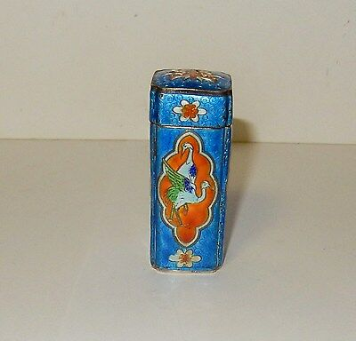 Chinese Silver Cloisonne Blue Enamel Ducks Birds Opium Canister Jar Box