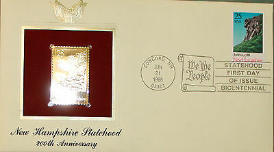 First Day of Issue New Hampshire Statehood, 200th Anniversary c/w Golden Replica