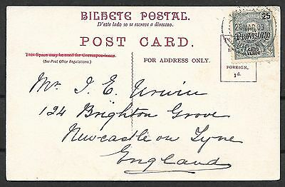 Cabo Verde covers 1903 PPC to Newcastle