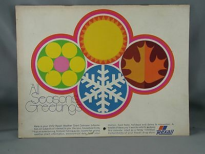 1972 Rexall Drug Stores Weather Chart Calendar Recipes Hints Advertising