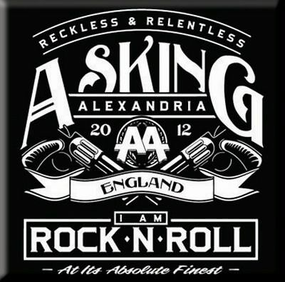 "ASKING ALEXANDRIA Rock'n'Roll  fridge magnet 3"" square metal gift free UK P&P"