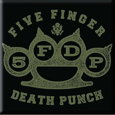 "FIVE FINGER DEATH PUNCH Knuckle  fridge magnet 3"" square metal gift free UK P&P"