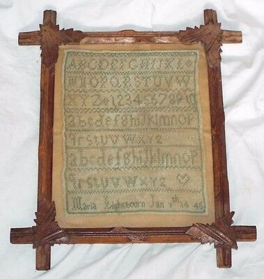 Early Antique 1845 Embroidered SAMPLER in Original Frame MARIA LIGHTBOURN