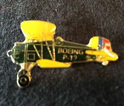 "Boeing P-12 Fighter Biplane Plane Lapel Hat Pin 1 1/4"" x 3/4"" New 1928-49"