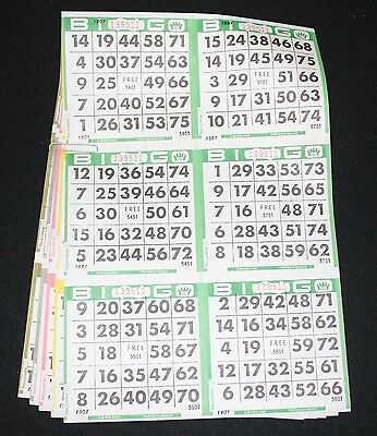 BINGO PAPER Cards 6 on 5 up Green rotation 300 packs FREE PRIORITY SHIPPING